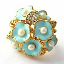 wholesale vogue jewelry Gold Filled Pearl Womens Flower Ring lots Size 7 8 9