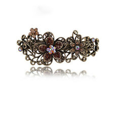 antique Flower Hair Pin Crystal Rhinestone Barrette Hairpin Clip Jewelry