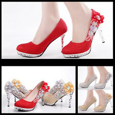 Glitter Gorgeous Wedding Bridal Evening Party Crystal High Heels Women Shoes L