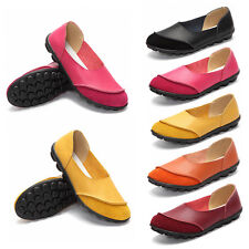 Women Faux Leather Walking Flat Casual Shoes Comfort Work Slip On Peas Shoes