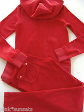 Juicy Couture Velour Red Tracksuit Hoodie Pocket Pants Track