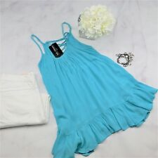 Boutique Lace up Top Blouse Ruffled Hem Tunic Length New Turquoise She + Sky