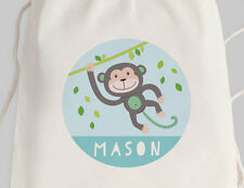 Bright Star Kids Personalised Childrens Drawstring or Tote Bag - Swinging Monkey