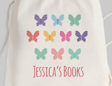 Bright Star Kids Personalised Library Drawstring or Canvas Tote Bag - Butterfly