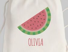 Bright Star Kids Personalised Library Drawstring or Tote Bag - Watermelon Slice