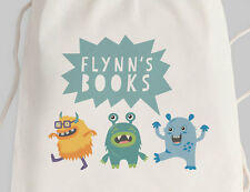 Bright Star Kids Personalised Library Drawstring or Tote Bag - Cute Monsters
