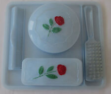 Vintage Blue Plastic Baby Dresser Tray Hairbrush Comb 2 Covered Containers 1960s