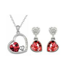 Austrian Crystal Double Heart Silver Earring and Necklace Set High Polish Zircon