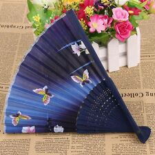 Bamboo Ribs Handle Handmade Craft Folding Fan Bamboo Fan Silk Female Fan Fan
