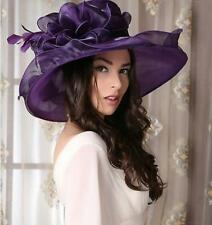 Womens Kentucky Derby Church Wedding Noble Dress hat organza Floral Party Hat