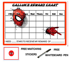 SPIDERMAN PERSONALISED REWARD CHART WITH FREE PEN AND MATCHING STICKERS 02
