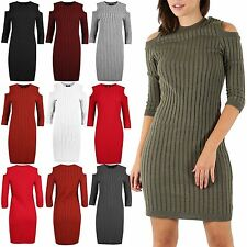Womens Ladies Ribbed Knitted Cold Cut Out Shoulder Long Sleeve Bodycon MiniDress