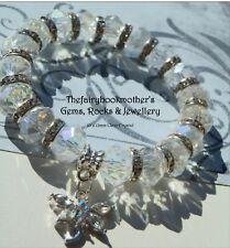 10 x 12mm CLEAR CRYSTAL GLASS BEADED SILVER STRETCH CHARM BRACELETS MIXED SIZES