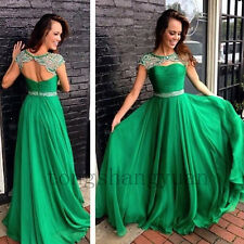 Luxury Crystals Evening Dresses For Women Cap Sleeve Prom Gowns Dress To Party