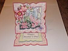 Handmade Greeting Card & Matching Envelope 3D Easel With Flowers And Butterflies