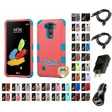 For LG G Stylo 2 LS775 Hybrid TUFF IMPACT Phone Case Hard Rugged Cover Chargers