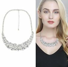 CZ Pendant Bib Necklace Chunky Long Necklace Collar Wedding Bridal Chunky