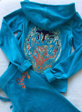 Juicy Couture Tracksuit Hoodie Pant Starflower Teal Green Blue Small S Set