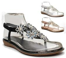 LADIES FLAT TOE POST WOMENS DIAMANTE JEWEL HOLIDAY DRESSY PARTY SANDALS SIZE 3-8