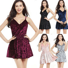Women Ladies Velvet Sexy Sleeveless Spaghetti Strap Evening Party Mini Dresses