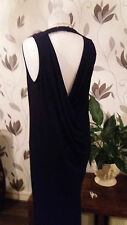NEXT SIZE 10 TALL BLACK STRETCH COWL DRAPE BACK MAXI DRESS BNWT NEW IN