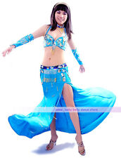 Belly Dance Costume 5PCS Necklace&Bra&Skirt&2 Armbands 34B/C 36B/C 38B/C 5 color
