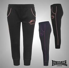 New Ladies Branded Lonsdale Casual Three Quarter Logo Jogging Bottoms Size 8-18