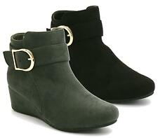 WOMENS LADIES FAUX SUEDE LOW MID HEEL WEDGE BUCKLE WORK ANKLE BOOTS SHOES SIZE