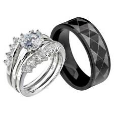 His and Hers Wedding Rings 3 pcs Engagement CZ Sterling Silver Titanium Set EO