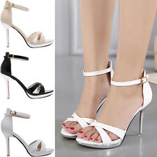 2017 Women Sexy High Heels Strappy Ankle Wrap Sandals Cross Tied Sandals Shoes L