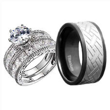 Mens Womens Titanium Silver 925 CZ Engagement Wedding 3 Pcs Ring Set His & Hers