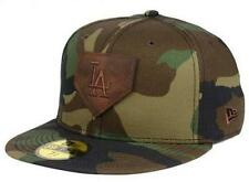 Official MLB Los Angeles Dodgers Logo of Leather New Era 59FIFTY Fitted Hat