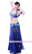 New Belly Dance Costume 3PCS of Bra&Belt&Skirt 34B/C 36B/C 38B/C 40B/C 12 colors