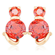 Gold PlatedCat White/Red Crystal Fashion Jewelry Stud Earrings Freeshipping