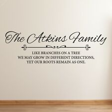 Personalised Family Wall Art Decal Quote Vinyl Kitchen Lounge or Bedroom Sticker