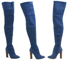 WOMEN OVER THE KNEE THIGH HIGH BLUE DENIM FABRIC HIGH HEEL BOOTS SHOES SIZE