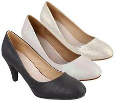 WOMENS LADIES MID HEEL WORK CASUAL SHIMMER SATIN BRIDAL COURT SHOES PUMPS SIZE