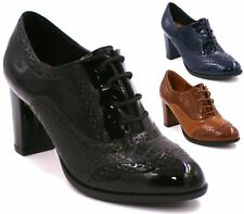 WOMENS LADIES CASUAL OFFICE FAUX LEATHER/SUEDE LACE UP BLOCK HEEL ANKLE SHOES