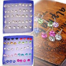 Wholesale 20 Pairs Crystal Rhinestone Plastic Round Stud Earrings Women Jewelry