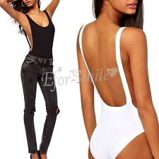 Womens Plain Scoop Neck Low Side Backless Sleeveless Ladies Leotard Bodysuit Top