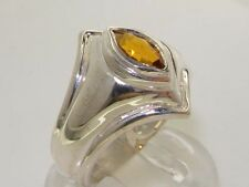 Made & Hallmarked in England Solid Sterling Silver Natural Citrine Band Ring