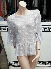 BNWT Lovely Atmosphere Grey Sheer All Lace See Through Shirt Blouse Size UK 12
