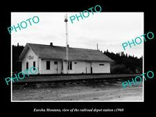 OLD LARGE HISTORIC PHOTO OF EUREKA MONTANA, THE RAILROAD DEPOT STATION c1960