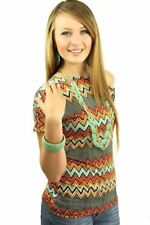 121AVENUE Lovely Zig Zag Print Top 3X Women Plus Size Multi-Colored Casual
