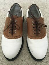 Etonic Men's Brown and White Leather Saddle Golf Shoes Size 9M