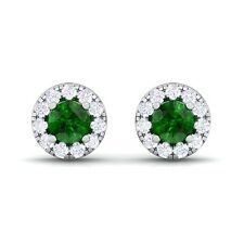 Green Emerald GH SI Diamond Gemstone Womens Halo Stud Earring 14K White Gold