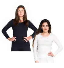 Thermals 2 Pack Ladies Cotton Thermal Long Sleeve Tops Black White Size 8-22