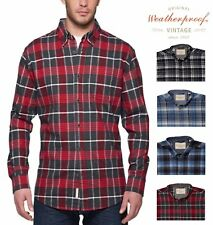 Weatherproof Vintage Mens Long Sleeve Button Front Plaid Soft Warm Flannel Shirt
