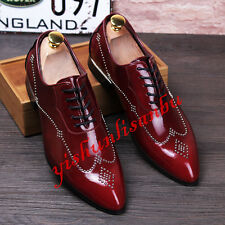 Mens Pointy Toe Patent Leather Low Heel Formal Dress Brogue Shoes Oxfords New
