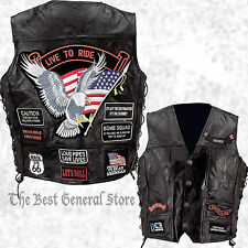 Black Leather Mens Waistcoat Motorcycle Vest with 14 Biker Style Patches Eagle